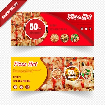 Ensemble de bannière web restaurant pour pizza hut