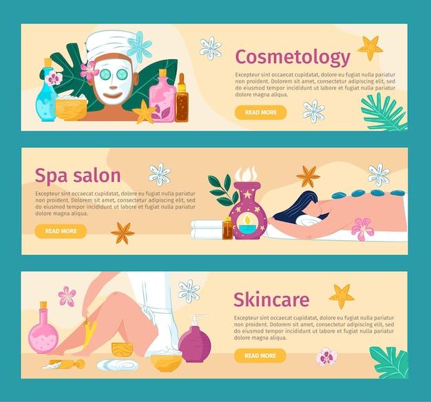 Ensemble de bannière web de salon de spa