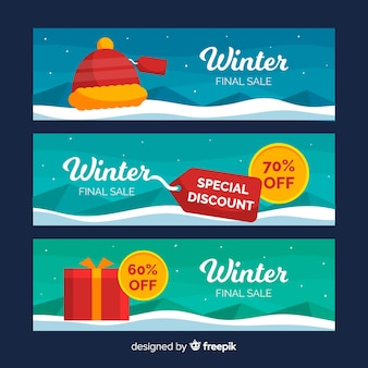 Ensemble de bannière web de vente d'hiver