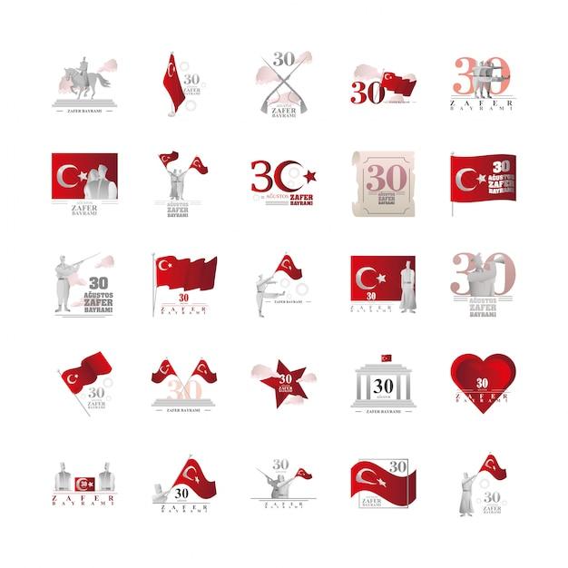 Ensemble de bannières 30 août, jour de la victoire de la turquie
