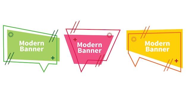 Ensemble de bannières abstraites dégradées avec des formes