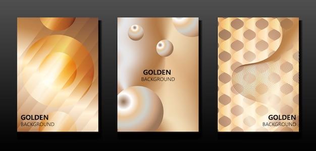 Ensemble de bannières abstraites dorées.