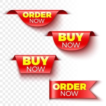 Ensemble de bannières d'achat et de commande maintenant. étiquettes de vente rouges. des autocollants.