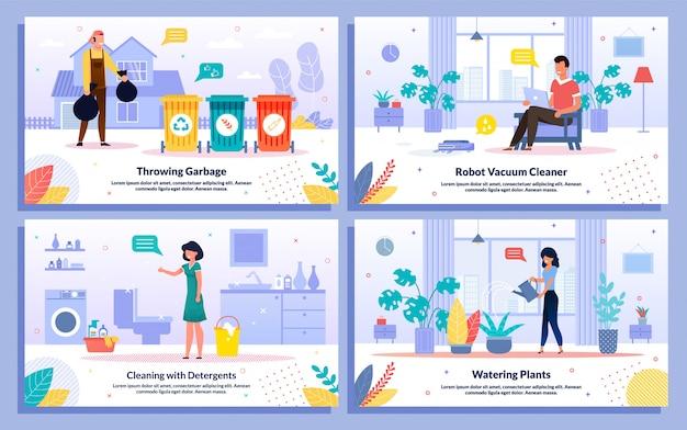 Ensemble de bannières d'activités de nettoyage quotidien de la maison