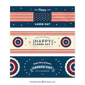 Ensemble de bannières américaines heureuses du jour du travail