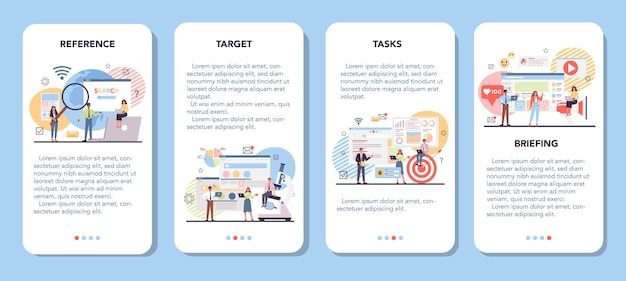 Ensemble de bannières d'application mobile d'analyse des concurrents