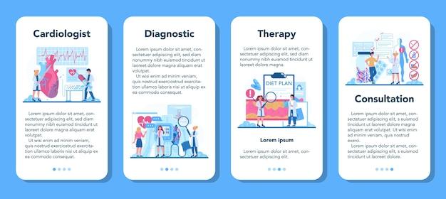 Ensemble de bannières d'application mobile cardiologue