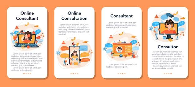 Ensemble de bannières d'application mobile de consultation professionnelle. recherche et recommandation. idée de gestion de stratégie et de dépannage. aidez les clients à résoudre des problèmes commerciaux.