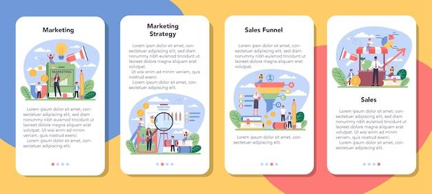 Ensemble de bannières d'application mobile de cours d'éducation marketing