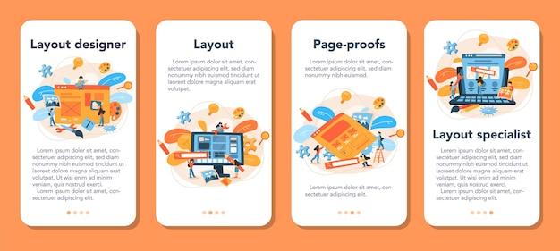 Ensemble de bannières d'application mobile layout designer