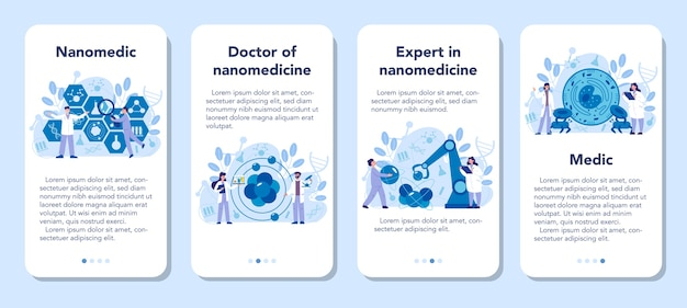 Ensemble de bannières d'application mobile nanomedic. les scientifiques travaillent au laboratoire sur les nanotechnologies. la nanomédecine guérit et prévient le traitement des maladies. illustration vectorielle.