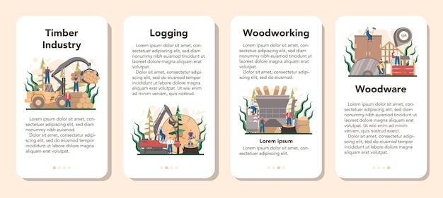 Ensemble de bannières d'application mobile pour l'industrie du bois et la production de bois