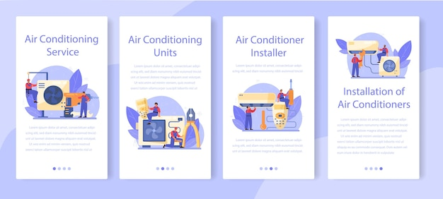 Ensemble de bannières d'application mobile de service de réparation et d'installation de climatisation