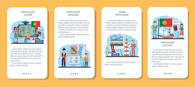 Ensemble de bannières d'applications mobiles d'apprentissage de la langue portugaise. école de langue