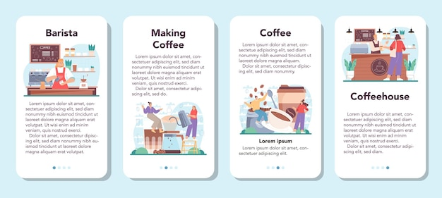 Ensemble de bannières d'applications mobiles barista barman faisant une tasse de café chaud