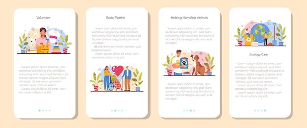 Ensemble de bannières d'applications mobiles bénévoles pour le soutien d'un travailleur social ancien