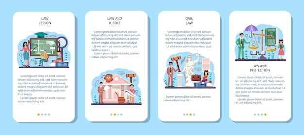 Ensemble de bannières d'applications mobiles de classe de droit. éducation à la punition et au jugement