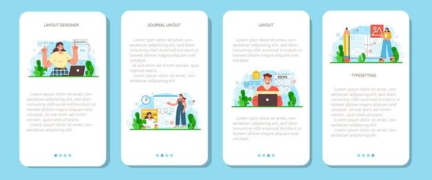 Ensemble de bannières d'applications mobiles de concepteur de mise en page. magazine ou journal