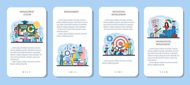 Ensemble de bannières d'applications mobiles de cours d'école de gestion. enseignement des sciences humaines
