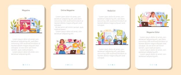 Ensemble de bannières d'applications mobiles d'éditeur de magazine. journaliste et designer