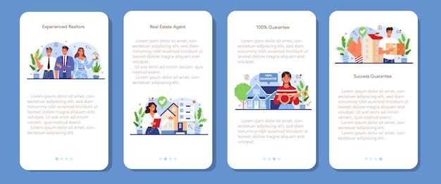 Ensemble de bannières d'applications mobiles immobilières. immobilier qualifié et fiable