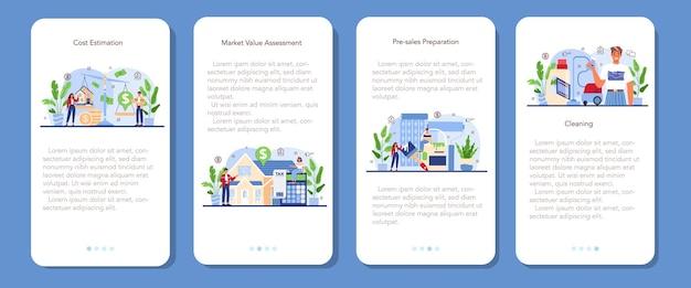 Ensemble de bannières d'applications mobiles de l'industrie immobilière. aide aux agents immobiliers