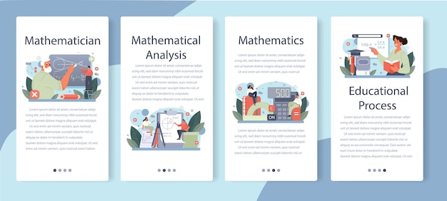 Ensemble de bannières d'applications mobiles de mathématicien. illustration vectorielle.