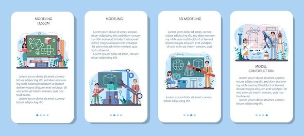 Ensemble de bannières d'applications mobiles pour cours d'école d'artisanat et de modélisation