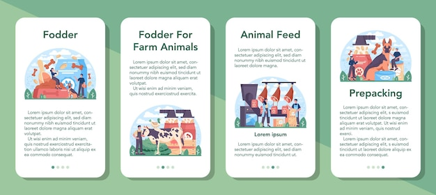 Ensemble de bannières d'applications mobiles pour l'industrie fourragère. nourriture pour la production d'animaux de compagnie