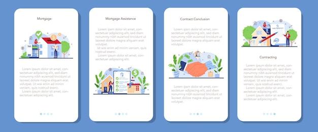 Ensemble de bannières d'applications mobiles pour l'industrie immobilière ou les agents immobiliers