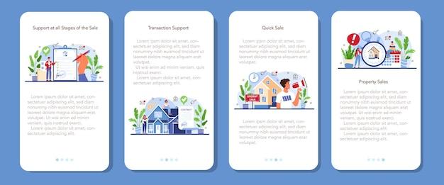 Ensemble de bannières d'applications mobiles de service d'agence immobilière. assistance