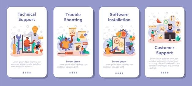 Ensemble de bannières d'applications mobiles de support technique. aide conseillère