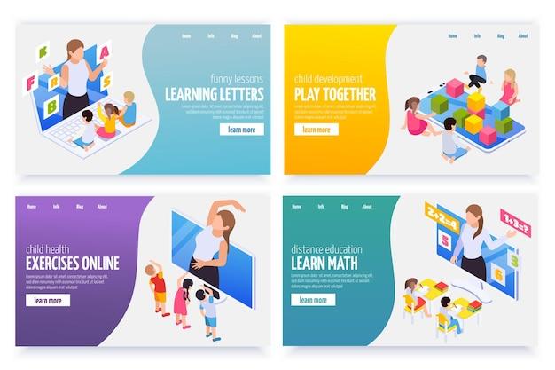 Ensemble de bannières d'apprentissage en ligne de la maternelle