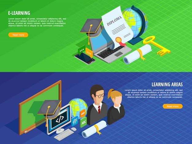 Ensemble de bannières d'apprentissage en ligne