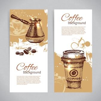 Ensemble de bannières d'arrière-plans de café vintage. menu pour restaurant, café, bar, café