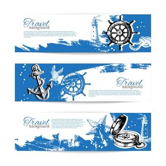 Ensemble de bannières d'arrière-plans vintage de voyage. conception nautique de la mer. illustrations dessinées à la main