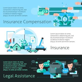 Ensemble de bannières d'assurance et de risque