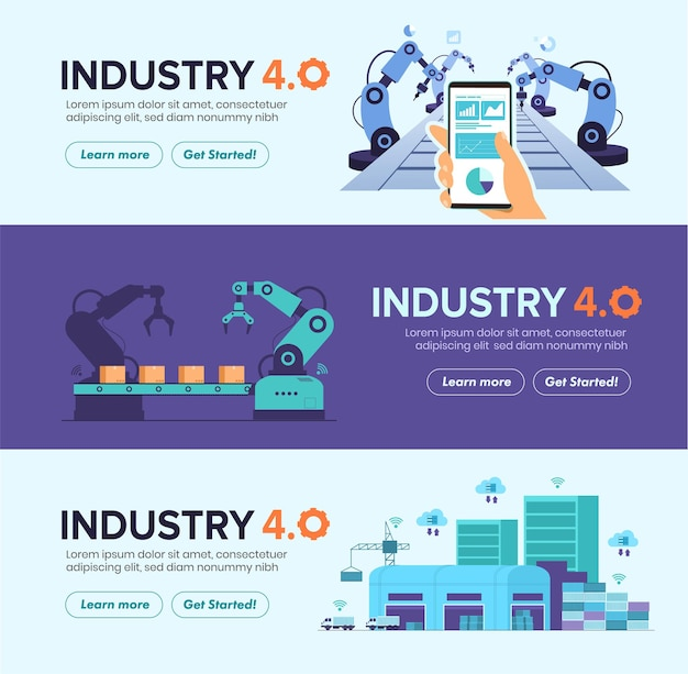 Ensemble de bannières d'automatisation smart factory