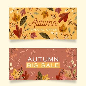 Ensemble de bannières automne design plat
