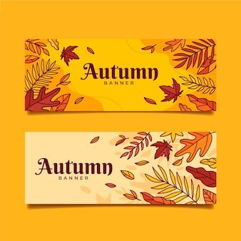 Ensemble de bannières d'automne dessinés à la main
