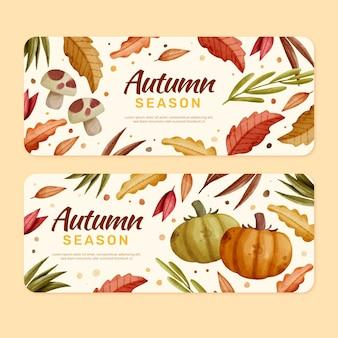 Ensemble de bannières automne horizontal aquarelle
