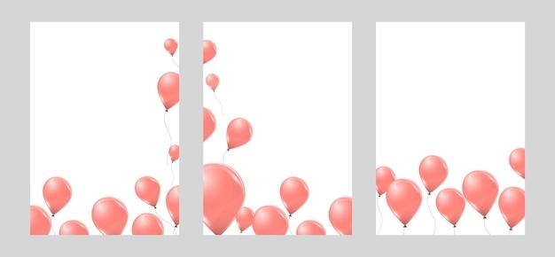 Ensemble de bannières avec des ballons à l'hélium rose