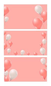 Ensemble de bannières avec des ballons à l'hélium roses et blancs