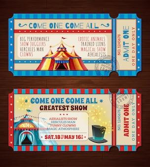 Ensemble de bannières de billets de cirque rétro
