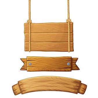 Ensemble de bannières en bois clair
