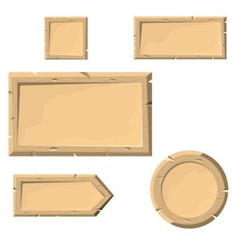 Ensemble de bannières ou des boutons de planches en bois de style de bande dessinée