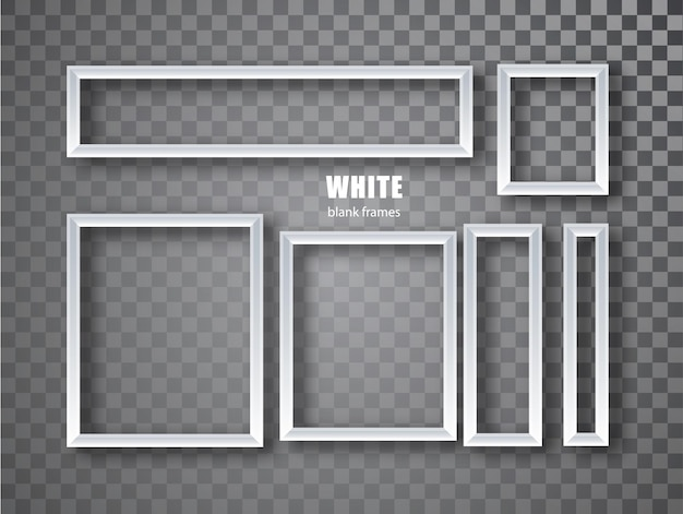 Ensemble de bannières de cadres blancs. assiettes avec une place pour les inscriptions isolées sur fond transparent. cadre vide.