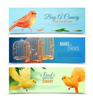 Ensemble de bannières canaries et cages à oiseaux