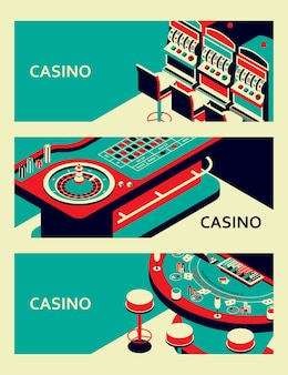 Ensemble de bannières de casino. table de roulette, machine à sous et black jack