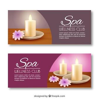 Ensemble de bannières de centre de spa avec des bougies et des fleurs aromatiques